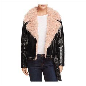 SUNSET SPRING Rock Chic faux fur moto black jacket